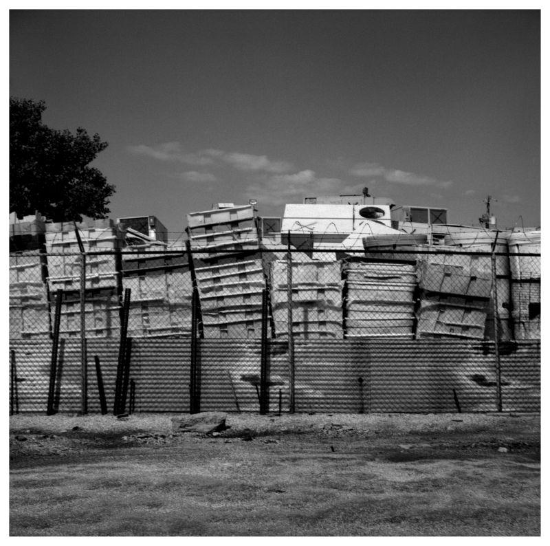 recycling bins - grant edwards photograph, b&w