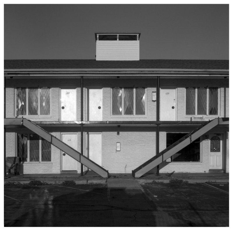 empty motel - grant edwards photograph, b&w