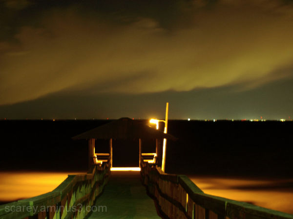 Natural light night shot of Pier on Mobile Bay