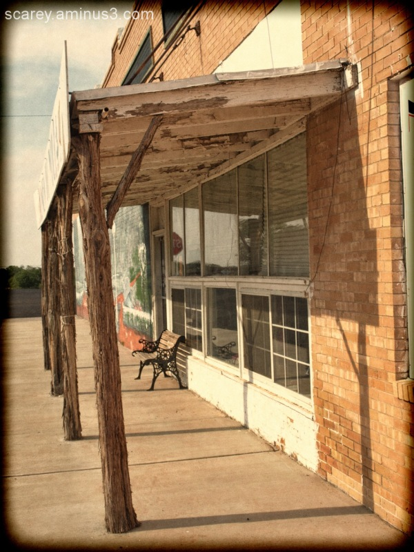 Sidewalk and buildings in Matador, Texas