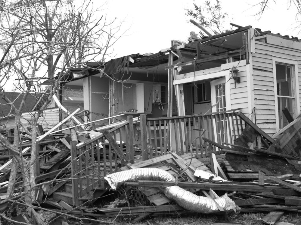 Home in Mobile, Alabama Heavily Damaged by Tornado
