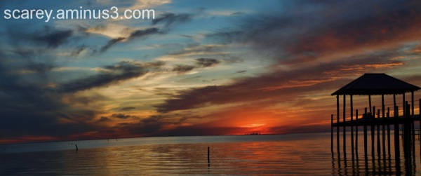 Beautiful sunset on Mobile Bay, Alabama