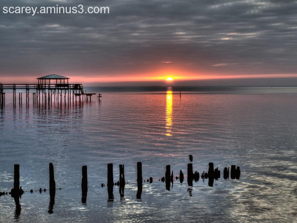 Winter sunset over Mobile Bay, Alabama