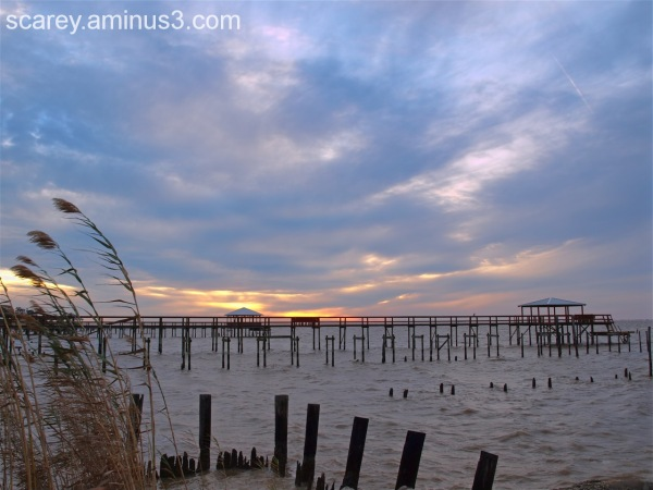 Cold sunset over Mobile Bay, Alabama