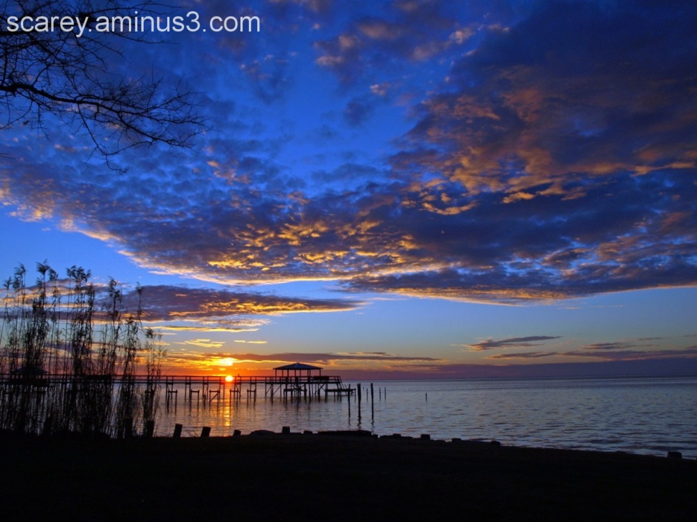 Winter sunset over Mobile Bay, Alabama