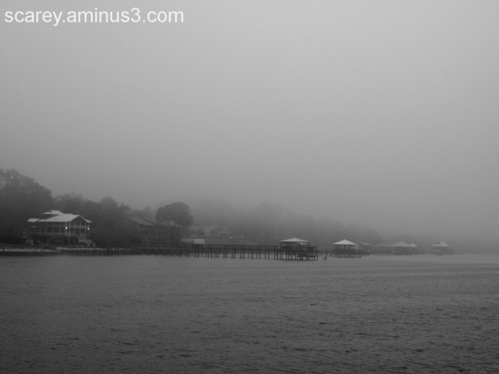 Foggy early spring day in Fairhope Alabama