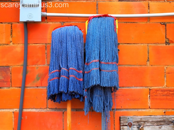 Two blue mops against orange bricks