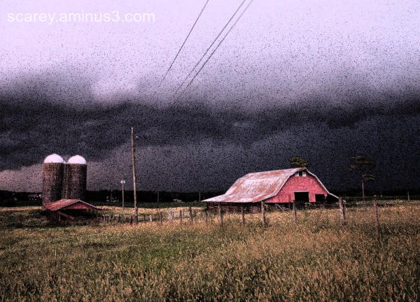 Thunderstorm is the backdrop for a farm in Alabama