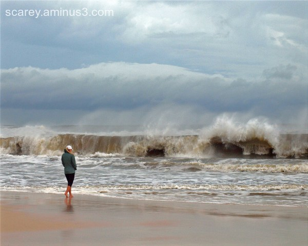 Crashing waves dues to Hurricane Michael