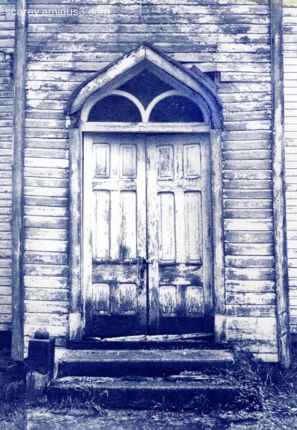 Cyanotype print of old church in Glen Easton, WV.
