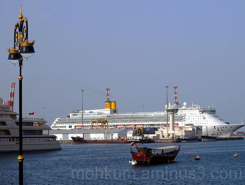 Matrah port cruise ship costa victoria oman dhow