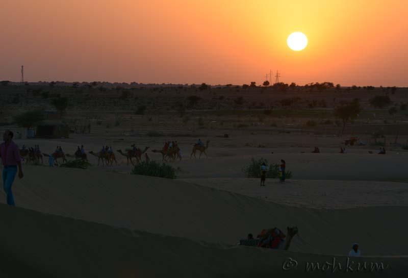 The sunset from the Sam desert, Rajasthan