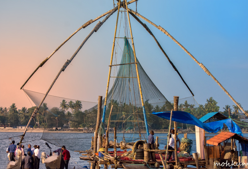 fishing net sunset fortkochi