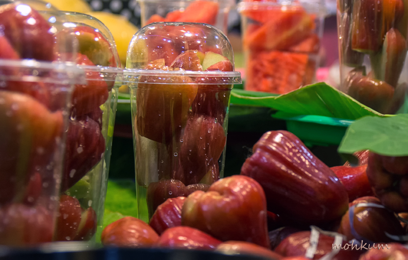 roseapple fruit stall street thailand