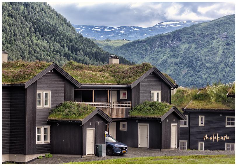 farmhouses  mountain snow voss norway