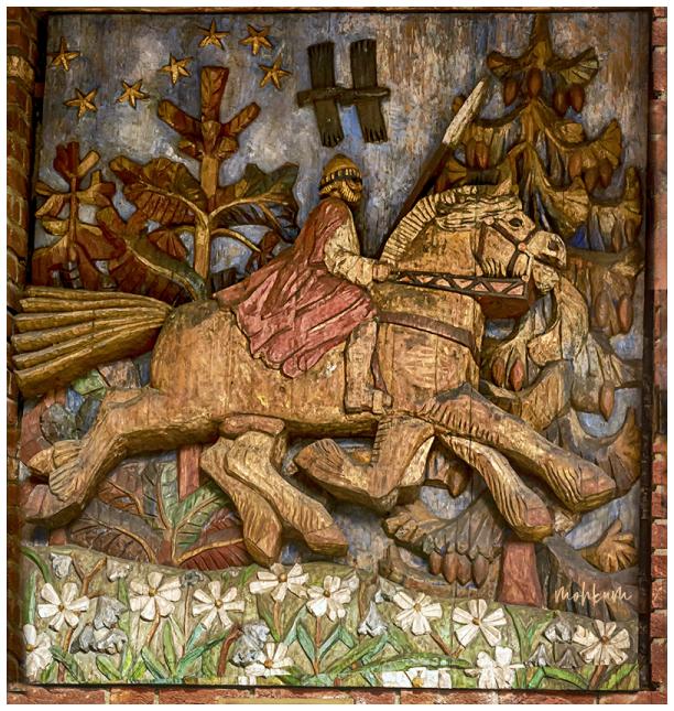 wood carving folk odin sleipner god stallion