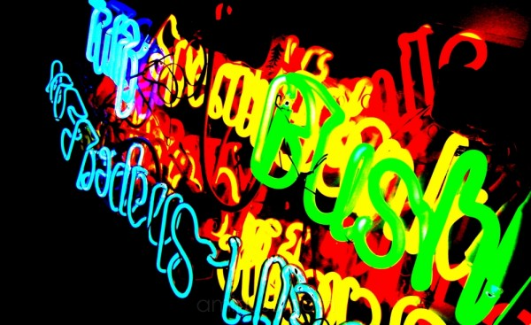 bush in neon lights