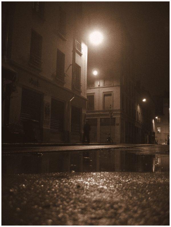 Streets of Lyon under the rain