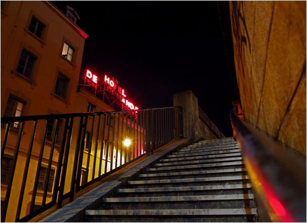 stairs lyon night