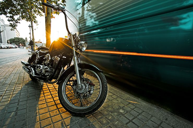 sunset motorbike