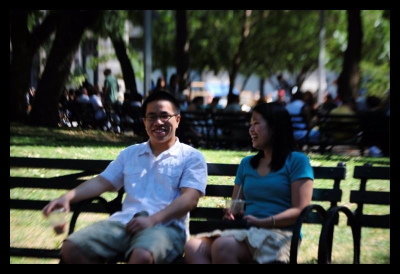 Couple enjoying the park