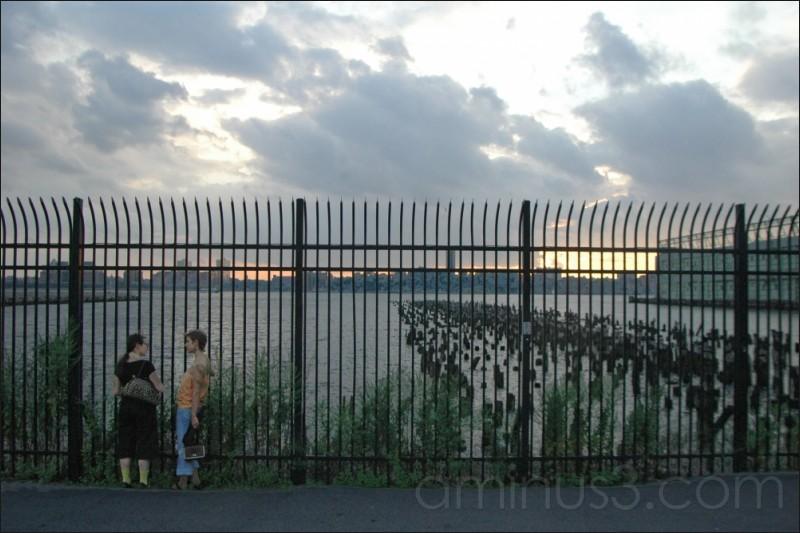 Talking by the Hudson, New York, NY. 07/2006