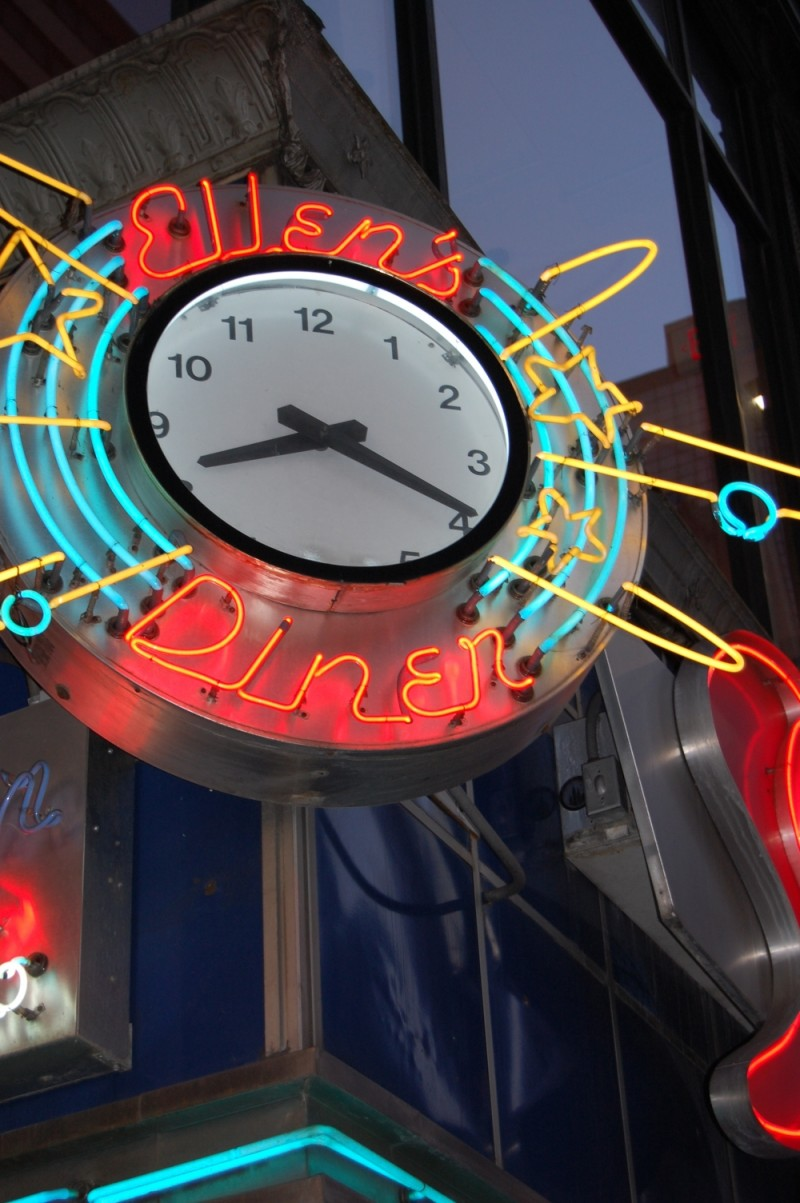 The clock on Ellen's Stardust Diner, Times Square