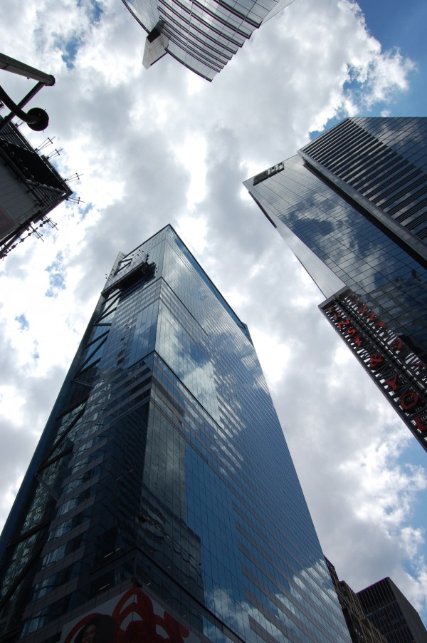 Buildings, clouds and cloud reflections in NYC.