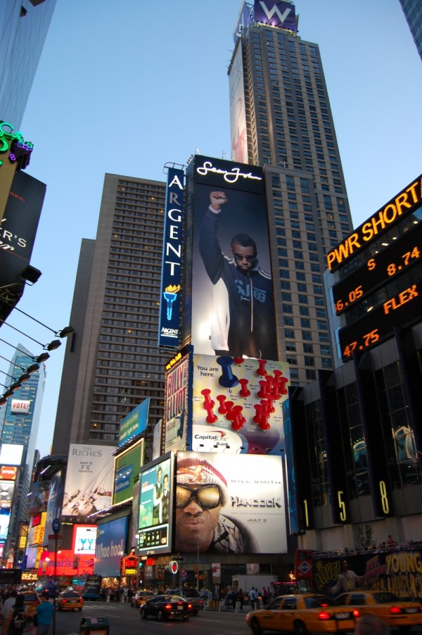 A view of Times Square from 50th Street.