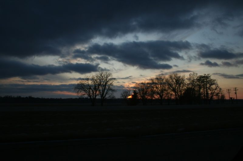 Our First Sunset in the Car
