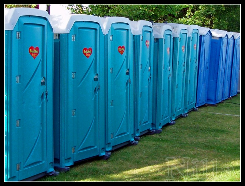 blue porta-potty, outhouses