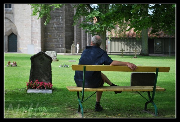 man at the bench