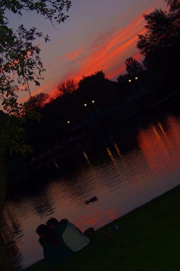 Couple enjoying the Beautiful Sunset in Boston