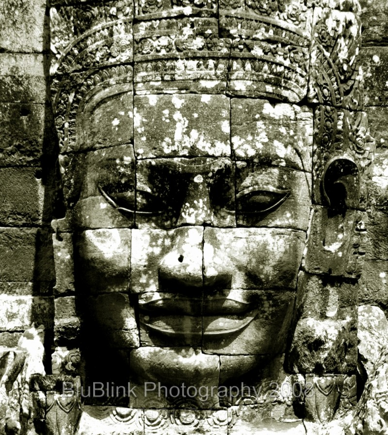 One version of king's face in Angkor Thom temple