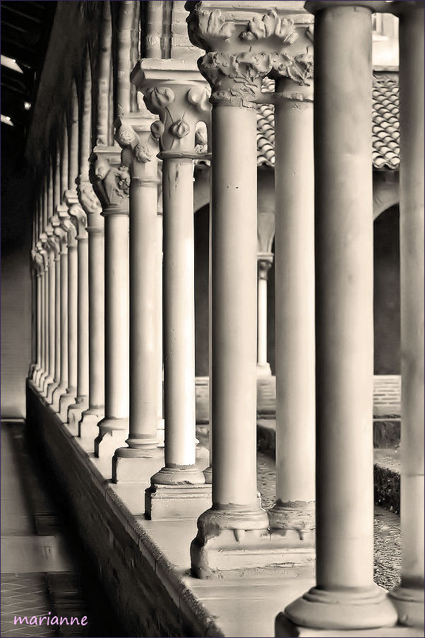 perspectives N&B architecture colonnes