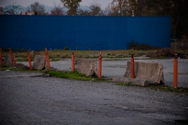 blue wall, side of big box store