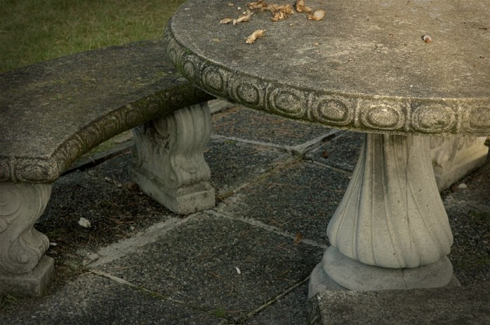 cement table in a park