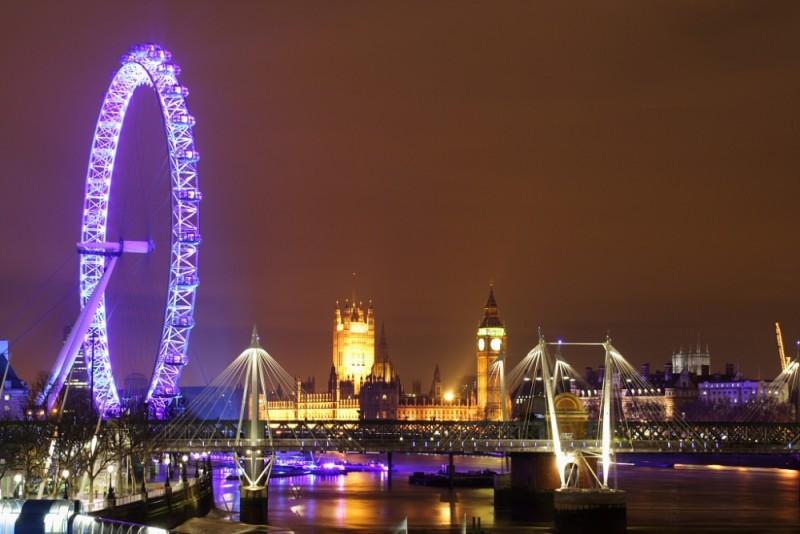 London Night Scene View From Waterloo Bridge Cityscape