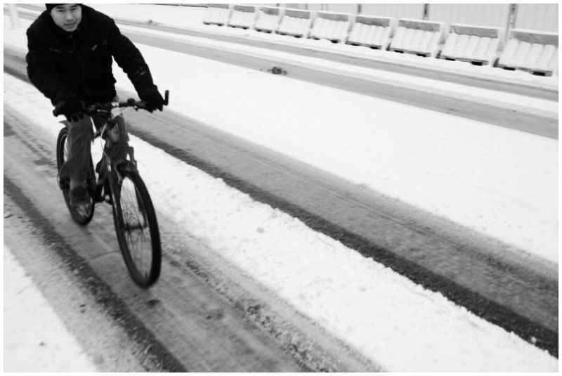 biker in the snow