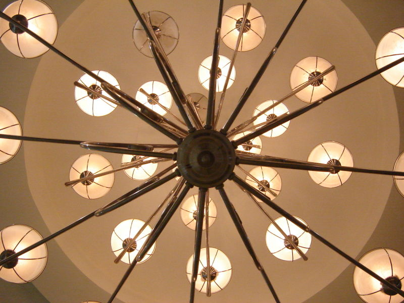It is a shot of a lamp taked from below