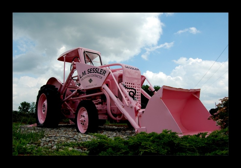 Pink tractor in Upstate New York