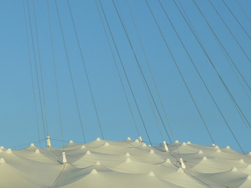 detail of Montreal's Olympic Stadium Roof