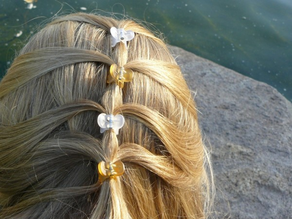 Junior Bridesmaid, fancy blonde hairdo with clips