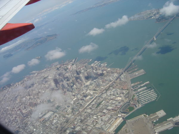 Leaving San Francisco by plane aerial view