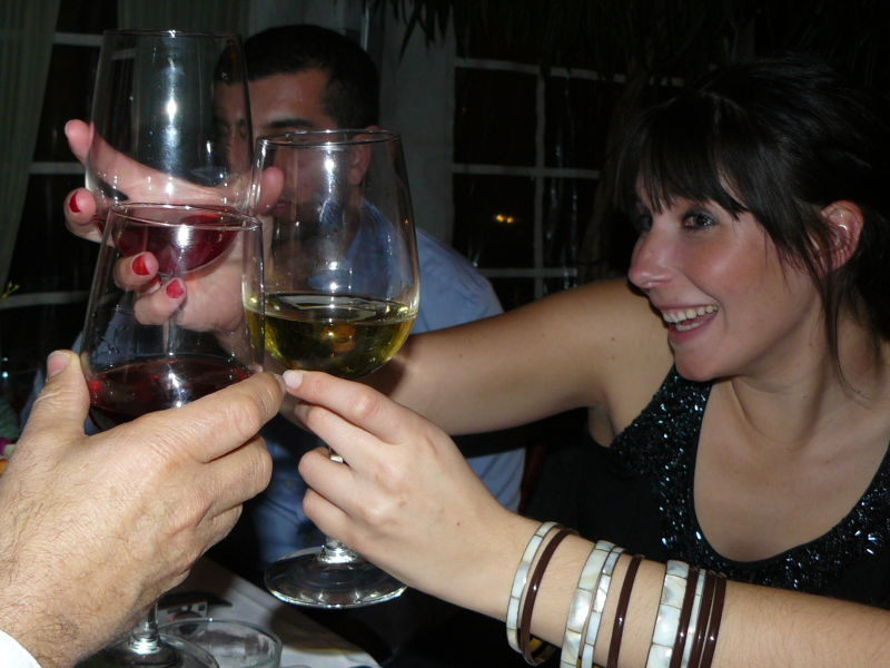 cousins give a toast with wine at a wedding