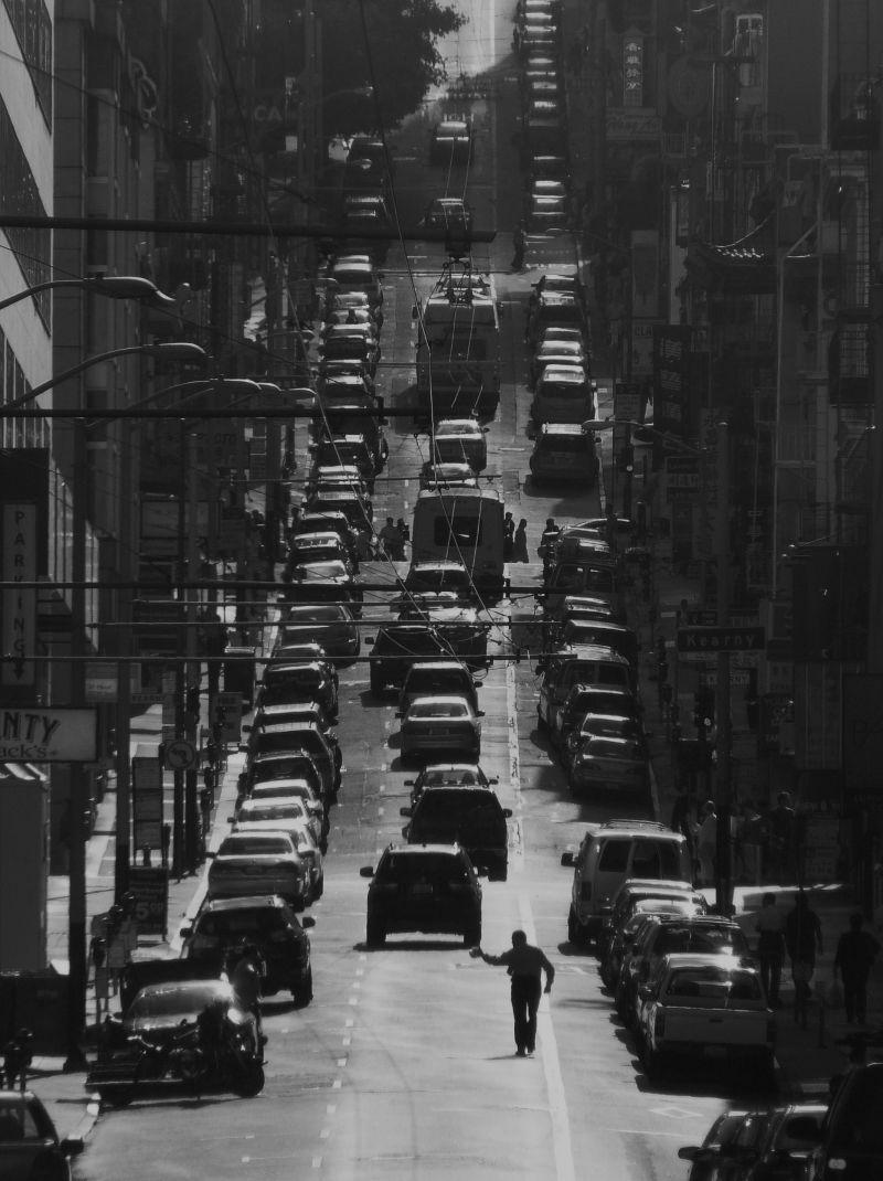 San Francisco street scene with Jaywalker & wires