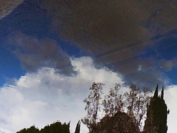 Blue water sky reflection abstract