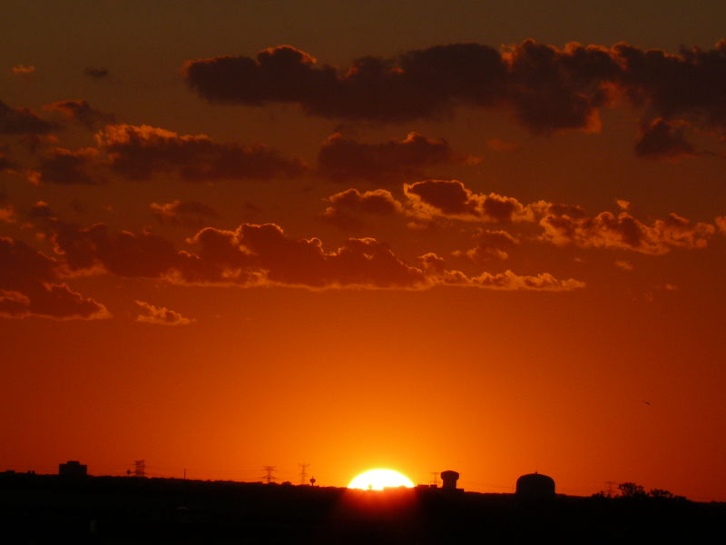 Orange Sunset over O'Hare Airport - Chicago