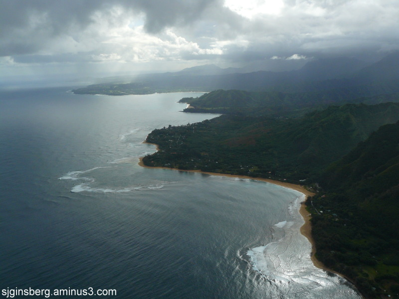 view of north shor Kauai, Hawaii by helicopter