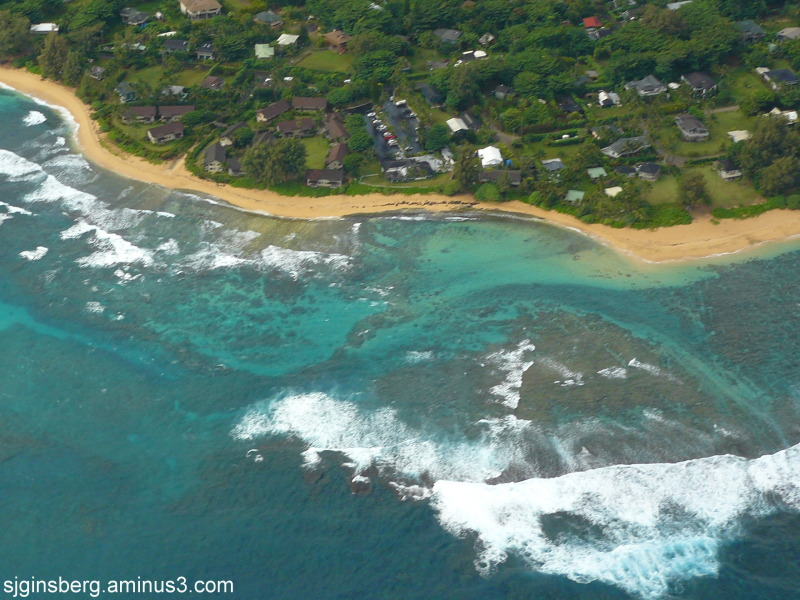 Kauai north beach from helicopter